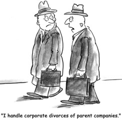"""I handle corporate divorces of parent companies."""