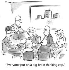 """Everyone put on a big brain thinking cap."""