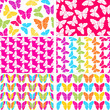 Vector seamless patterns with colorful butterflies
