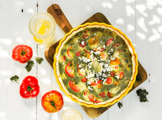 Savory quiche with herbs and cheese