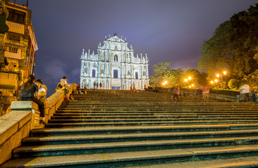 Ruined church of St Paul in Macau. Beautiful lights at night