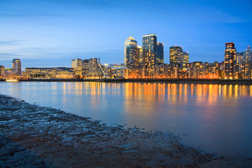 View of the Canary Wharf from Canada Water.