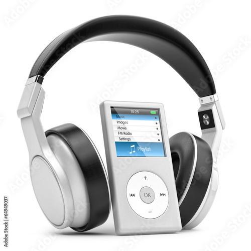 Leinwanddruck Bild Modern musical multimedia player and silver headphones.