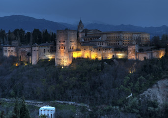 The Alhambra in Granda, Spain at dusk