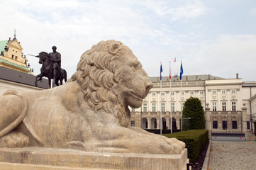 presidential palace Koniecpolski Palace with lion statues Warsaw
