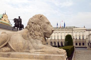 presidential palace Koniecpolski Palace with lion statues Warsaw