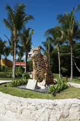 Jaguar, Cougar, Balam sculpture in Mexico, Maya tradition