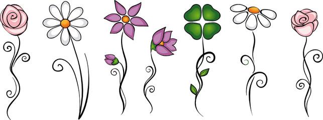 Blumen Blüten Dekoration Set