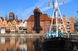 Motlawa River with medieval port crane in Gdansk, Poland.