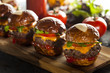Homemade Cheeseburger Sliders with Lettuce - 64950892