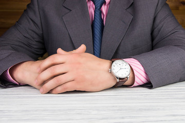 Man business modern in wristwatch