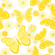 Yellow butterflies and flowers seamless background