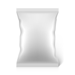 White blank snacks food foil packaging bag
