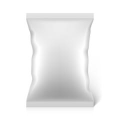 White blank snacks food foil packaging bag