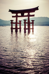 Miyajima,big Shinto torii standing in the ocean,Hiroshima,Japan