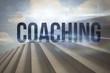 Coaching against steps against blue sky