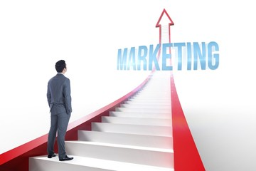 Marketing against red arrow with steps graphic