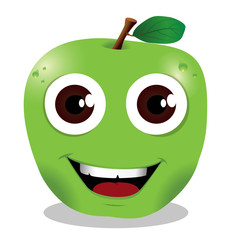 mela verde stile cartone animato