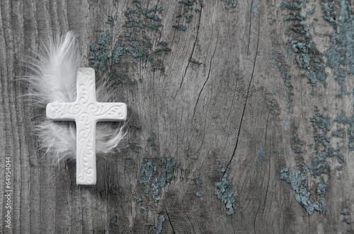 Fotobehang Begraafplaats Trauerkarte: Holz Hintergrund mit Kreuz in Weiß