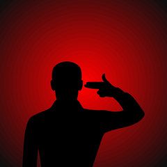 Silhouette of a man put an imaginary gun to his head
