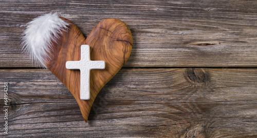 Letzter Gruß am Grab: Holz Herz mit Kreuz - 64954258