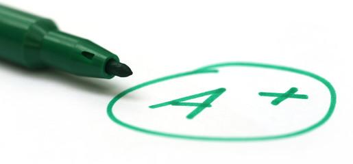 Mark A+ with a pen