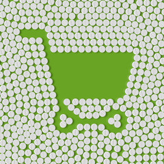 pills concept: shopping, trolley