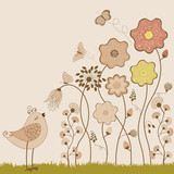 Abstract flowers with butterflies and bird - 64955682