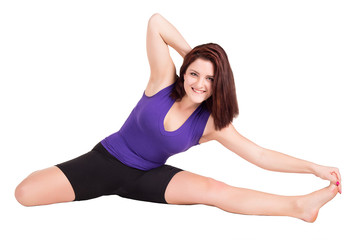 sports girl is engaged in Pilates