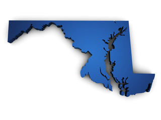 Map Of Maryland 3d Shape