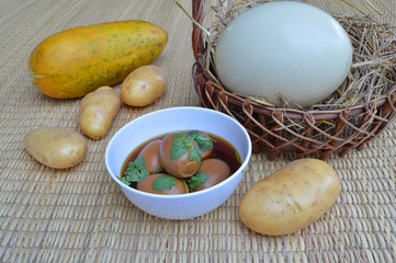 Khai Phalo among musk melon, ostrich egg and potatoes