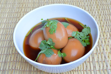 Khai Phalo or braised pork soup with duck eggs