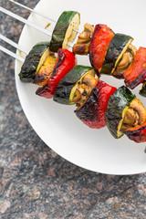 grilled vegetables on spit