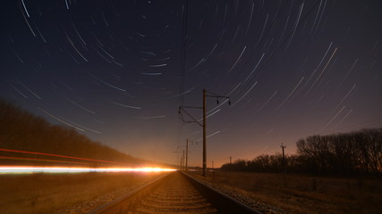 Night rails - motion stars, stratrails skyes timelapse