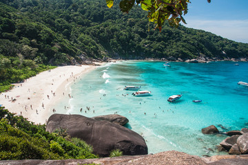Boats and yachts in the bay at Similan Islands, Thailand