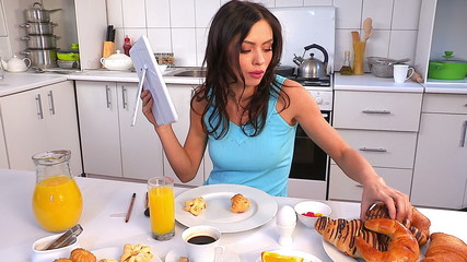 Woman applying make up and breakfast.Time lapse.