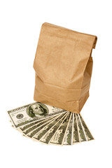 Money With Brown Lunch Bag Isolated On White