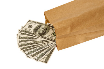 Money Pouring Out Of Brown Paper Lunch Bag