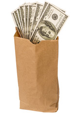 Brown Paper Lunch Bag Full Of Money