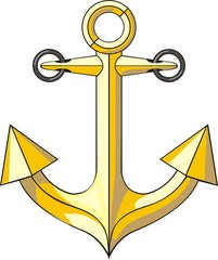 golden anchor for boat parking marine sign
