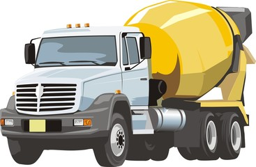 truck with concrete mixer