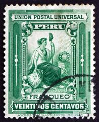 Postage stamp Peru 1902 Liberty, Allegory