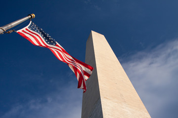 USA flag and Washington Monument by diagonal
