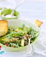 Asparagus , mushroom and ruccola warm salad