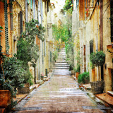 Fototapeta Alley - charming streets of mediterranian, artistic picture © Freesurf