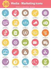 Media & Marketing icons,colorful version on white background