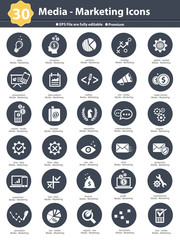Media & Marketing icons,dark version on white background