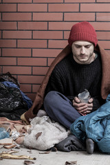 Poor, homeless man on the street