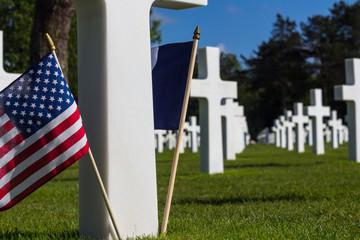 Fanion Américain et cimetière