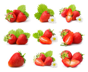 Set of ripe strawberries with leaves and blossom isolated
